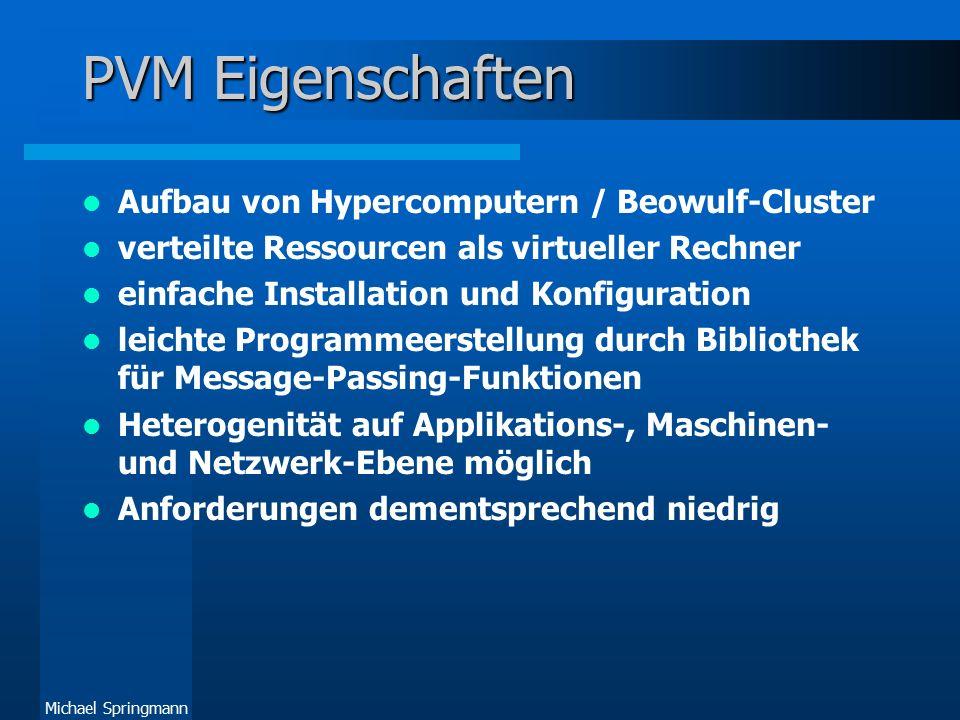 Michael Springmann Quellen Bücher –Al Geist et al.: PVM - A User's Guide and Tutorial for Networked Parallel Computing MIT Press 1994 Internet –PVM Homepage: http://www.epm.ornl.gov/pvm/pvm_home.html (leider seit Wochen offline) http://www.epm.ornl.gov/pvm/pvm_home.html –Netlib.org: http://www.netlib.org/pvm3/http://www.netlib.org/pvm3/ –Studienarbeit von Carsten Schindler: http://parallel.fh- bielefeld.de/ti/studien/pvm/title.htmlhttp://parallel.fh- bielefeld.de/ti/studien/pvm/title.html