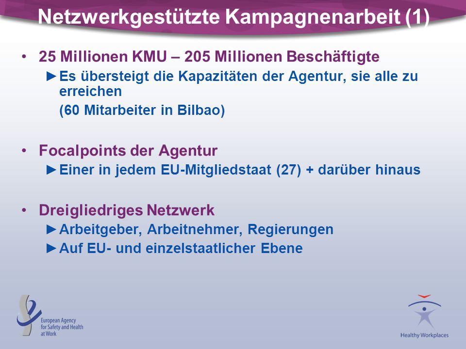 Netzwerkgestützte Kampagnenarbeit (1) 25 Millionen KMU – 205 Millionen Beschäftigte ►Es übersteigt die Kapazitäten der Agentur, sie alle zu erreichen (60 Mitarbeiter in Bilbao) Focalpoints der Agentur ►Einer in jedem EU-Mitgliedstaat (27) + darüber hinaus Dreigliedriges Netzwerk ►Arbeitgeber, Arbeitnehmer, Regierungen ►Auf EU- und einzelstaatlicher Ebene