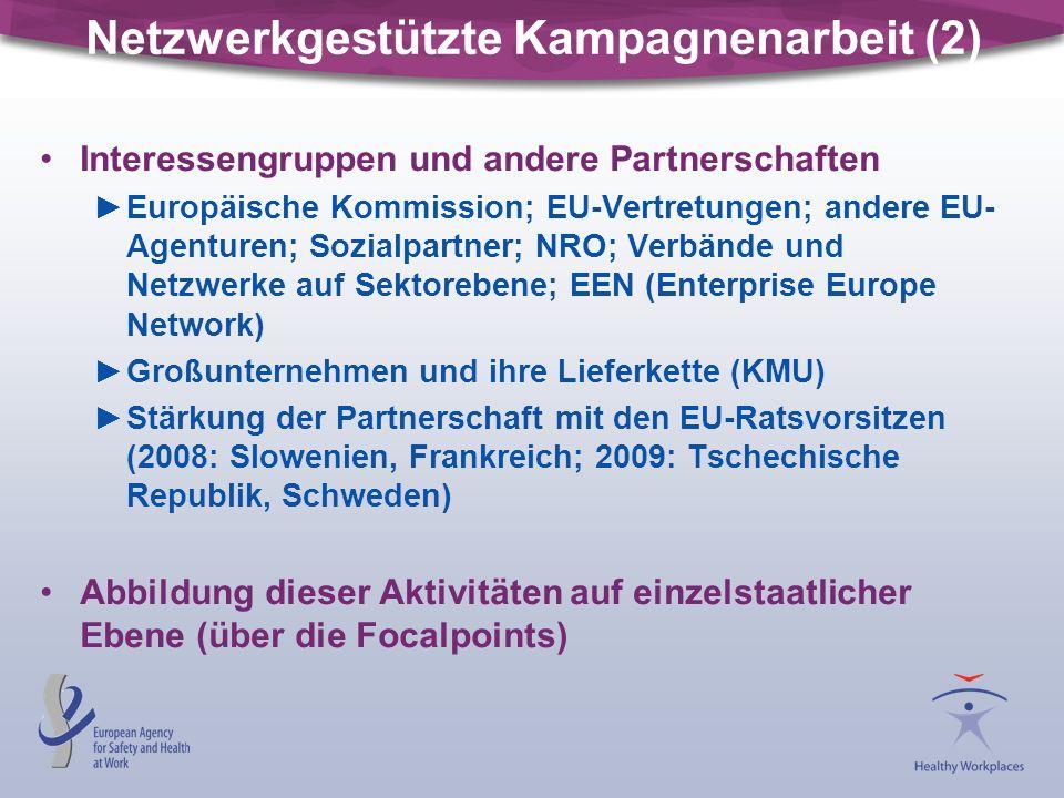 Netzwerkgestützte Kampagnenarbeit (2) Interessengruppen und andere Partnerschaften ►Europäische Kommission; EU-Vertretungen; andere EU- Agenturen; Sozialpartner; NRO; Verbände und Netzwerke auf Sektorebene; EEN (Enterprise Europe Network) ►Großunternehmen und ihre Lieferkette (KMU) ►Stärkung der Partnerschaft mit den EU-Ratsvorsitzen (2008: Slowenien, Frankreich; 2009: Tschechische Republik, Schweden) Abbildung dieser Aktivitäten auf einzelstaatlicher Ebene (über die Focalpoints)