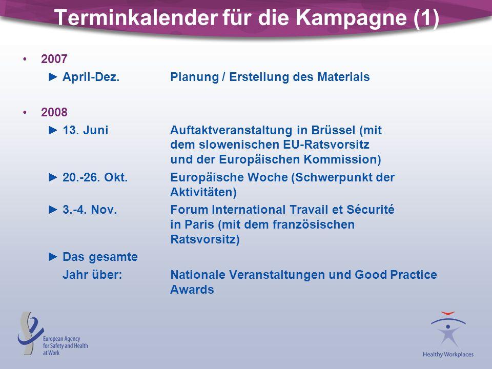 Terminkalender für die Kampagne (1) 2007 ►April-Dez. Planung / Erstellung des Materials 2008 ►13. JuniAuftaktveranstaltung in Brüssel (mit dem sloweni