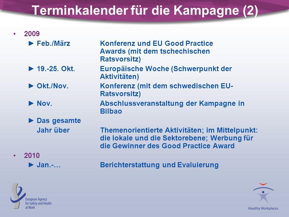 Terminkalender für die Kampagne (2) 2009 ►Feb./MärzKonferenz und EU Good Practice Awards (mit dem tschechischen Ratsvorsitz) ►19.-25. Okt.Europäische