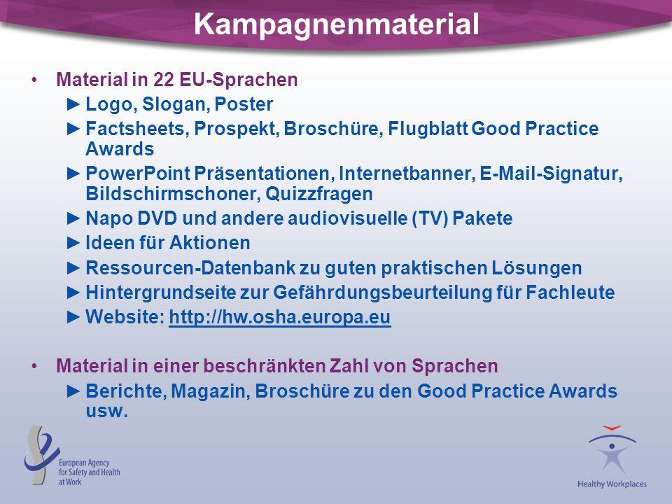 Kampagnenmaterial Material in 22 EU-Sprachen ►Logo, Slogan, Poster ►Factsheets, Prospekt, Broschüre, Flugblatt Good Practice Awards ►PowerPoint Präsen