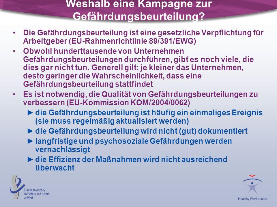 Weshalb eine Kampagne zur Gefährdungsbeurteilung? Die Gefährdungsbeurteilung ist eine gesetzliche Verpflichtung für Arbeitgeber (EU-Rahmenrichtlinie 8