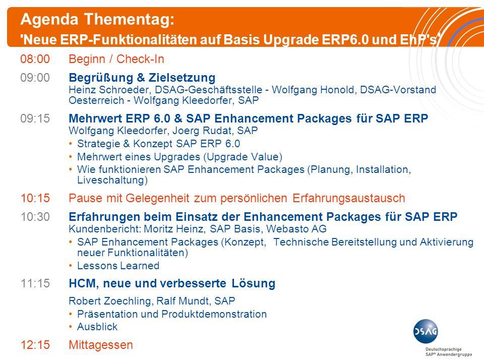 Agenda Thementag: Neue ERP-Funktionalitäten auf Basis Upgrade ERP6.0 und EhP s 08:00Beginn / Check-In 09:00Begrüßung & Zielsetzung Heinz Schroeder, DSAG-Geschäftsstelle - Wolfgang Honold, DSAG-Vorstand Oesterreich - Wolfgang Kleedorfer, SAP 09:15Mehrwert ERP 6.0 & SAP Enhancement Packages für SAP ERP Wolfgang Kleedorfer, Joerg Rudat, SAP Strategie & Konzept SAP ERP 6.0 Mehrwert eines Upgrades (Upgrade Value) Wie funktionieren SAP Enhancement Packages (Planung, Installation, Liveschaltung) 10:15Pause mit Gelegenheit zum persönlichen Erfahrungsaustausch 10:30Erfahrungen beim Einsatz der Enhancement Packages für SAP ERP Kundenbericht: Moritz Heinz, SAP Basis, Webasto AG SAP Enhancement Packages (Konzept, Technische Bereitstellung und Aktivierung neuer Funktionalitäten) Lessons Learned 11:15HCM, neue und verbesserte Lösung Robert Zoechling, Ralf Mundt, SAP Präsentation und Produktdemonstration Ausblick 12:15Mittagessen