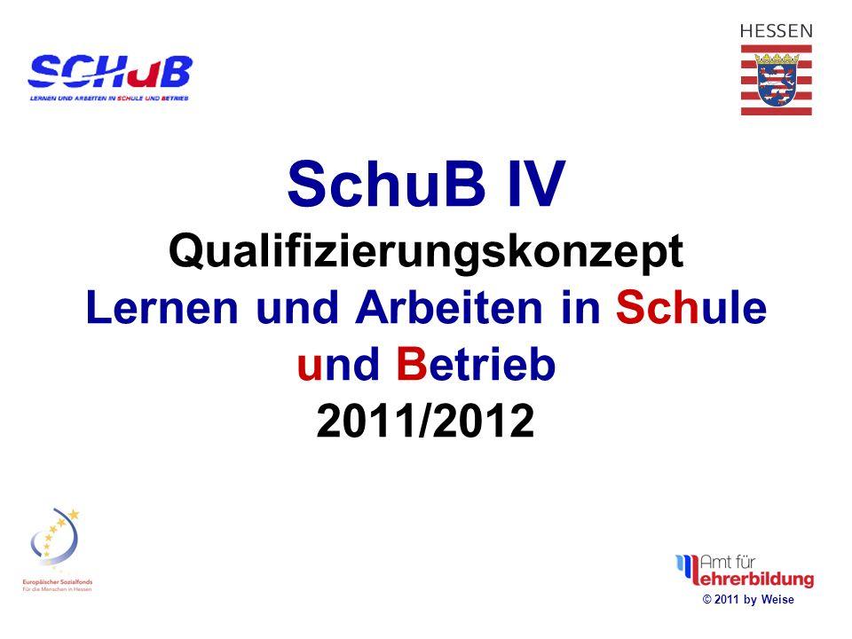 SchuB IV Qualifizierungskonzept Lernen und Arbeiten in Schule und Betrieb 2011/2012 © 2011 by Weise