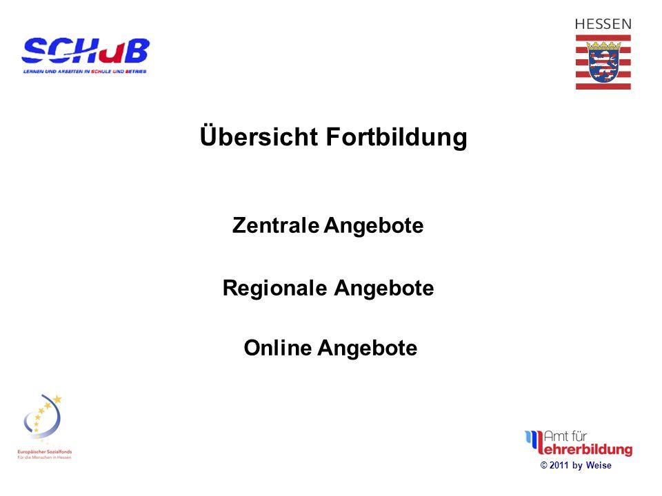 © 2011 by Weise Regionale Angebote Zentrale Angebote Online Angebote Übersicht Fortbildung