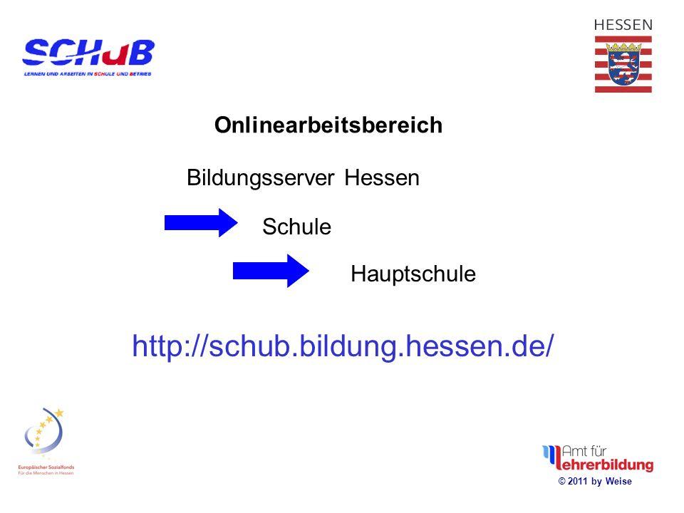 Onlinearbeitsbereich Bildungsserver Hessen Schule Hauptschule http://schub.bildung.hessen.de/ © 2011 by Weise
