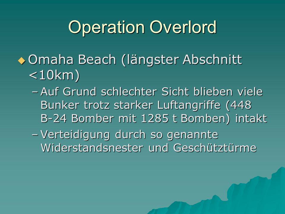 Operation Overlord  Omaha Beach (längster Abschnitt <10km) –Auf Grund schlechter Sicht blieben viele Bunker trotz starker Luftangriffe (448 B-24 Bomb