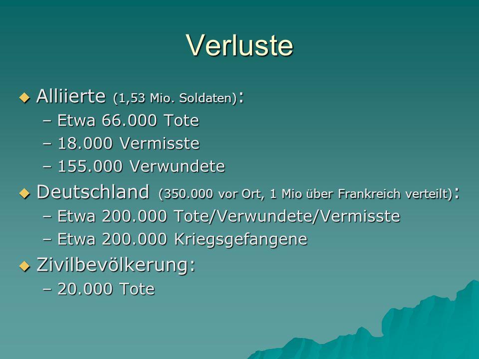 Verluste  Alliierte (1,53 Mio. Soldaten) : –Etwa 66.000 Tote –18.000 Vermisste –155.000 Verwundete  Deutschland (350.000 vor Ort, 1 Mio über Frankre