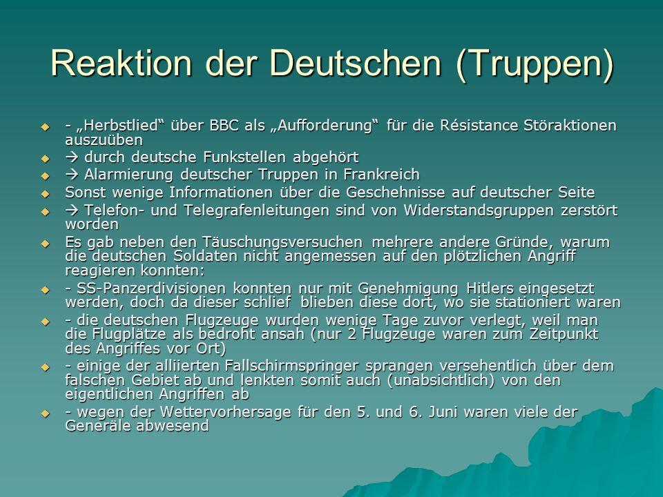"""Reaktion der Deutschen (Truppen)  - """"Herbstlied"""" über BBC als """"Aufforderung"""" für die Résistance Störaktionen auszuüben   durch deutsche Funkstellen"""