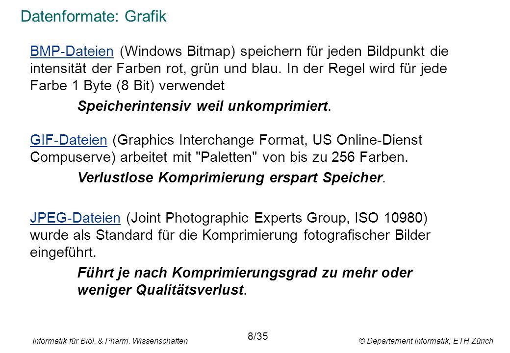 Informatik für Biol. & Pharm. Wissenschaften © Departement Informatik, ETH Zürich Datenformate: Grafik BMP-Dateien (Windows Bitmap) speichern für jede