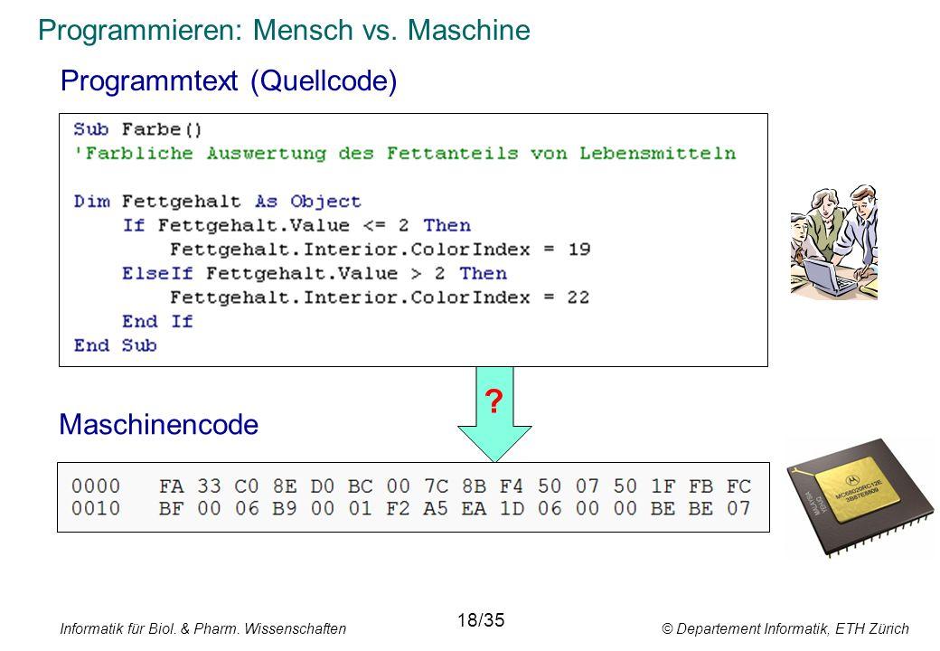 Programmieren: Mensch vs. Maschine xyz Programmtext (Quellcode) Informatik für Biol. & Pharm. Wissenschaften © Departement Informatik, ETH Zürich 18/3