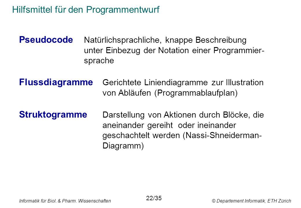 Informatik für Biol. & Pharm. Wissenschaften © Departement Informatik, ETH Zürich Hilfsmittel für den Programmentwurf Pseudocode Natürlichsprachliche,