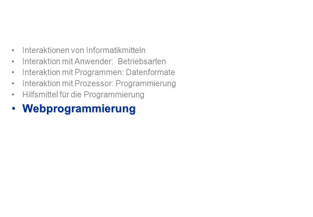 Interaktionen von Informatikmitteln Interaktion mit Anwender: Betriebsarten Interaktion mit Programmen: Datenformate Interaktion mit Prozessor: Programmierung Hilfsmittel für die Programmierung WebprogrammierungWebprogrammierung