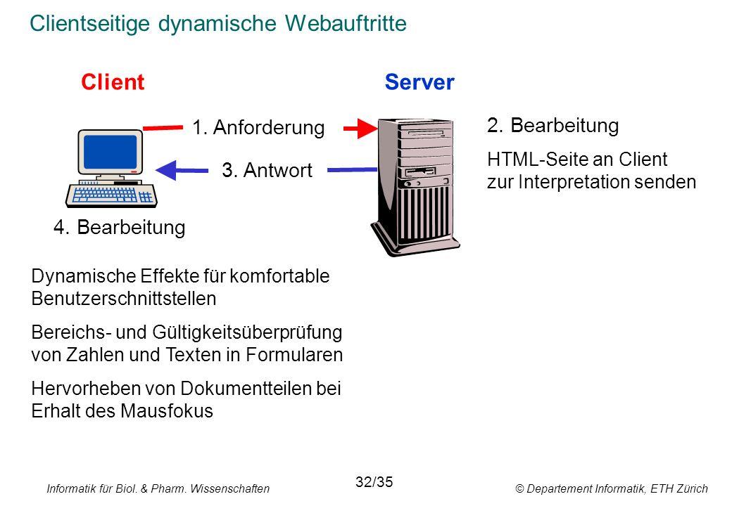 Informatik für Biol. & Pharm. Wissenschaften © Departement Informatik, ETH Zürich Clientseitige dynamische Webauftritte ClientServer 1. Anforderung 3.