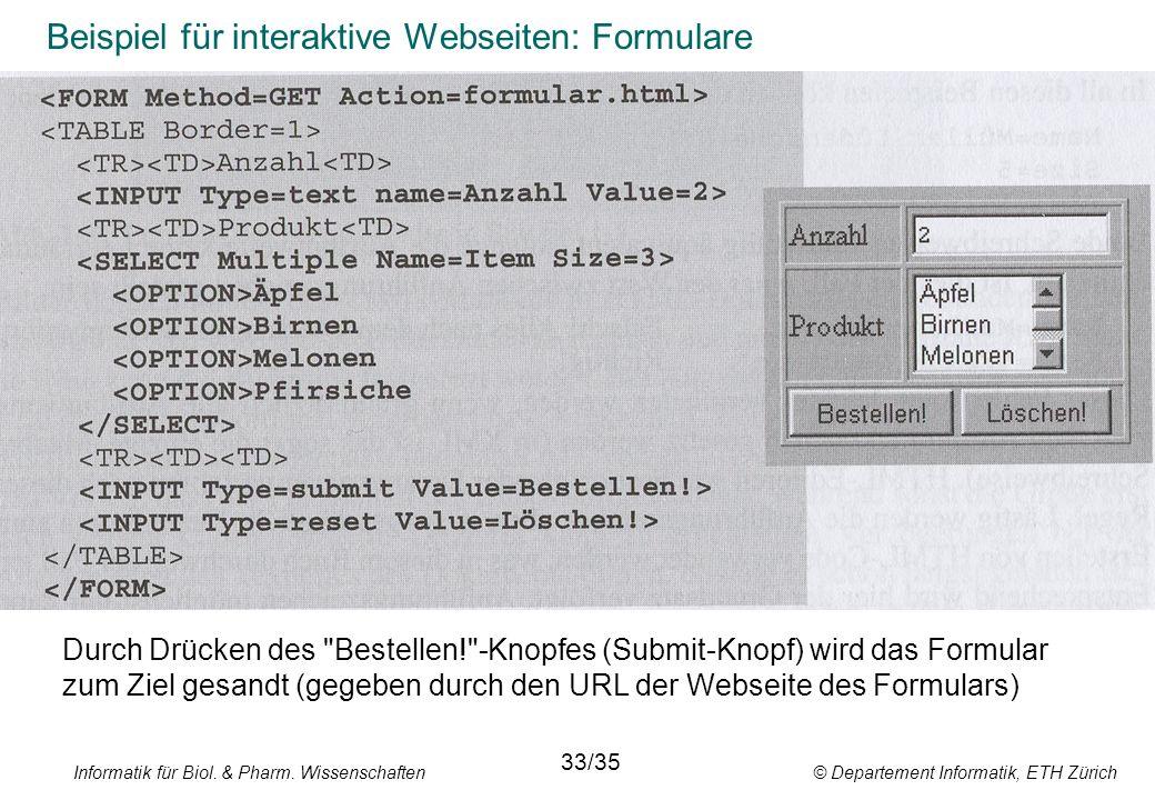 Informatik für Biol. & Pharm. Wissenschaften © Departement Informatik, ETH Zürich Beispiel für interaktive Webseiten: Formulare Durch Drücken des