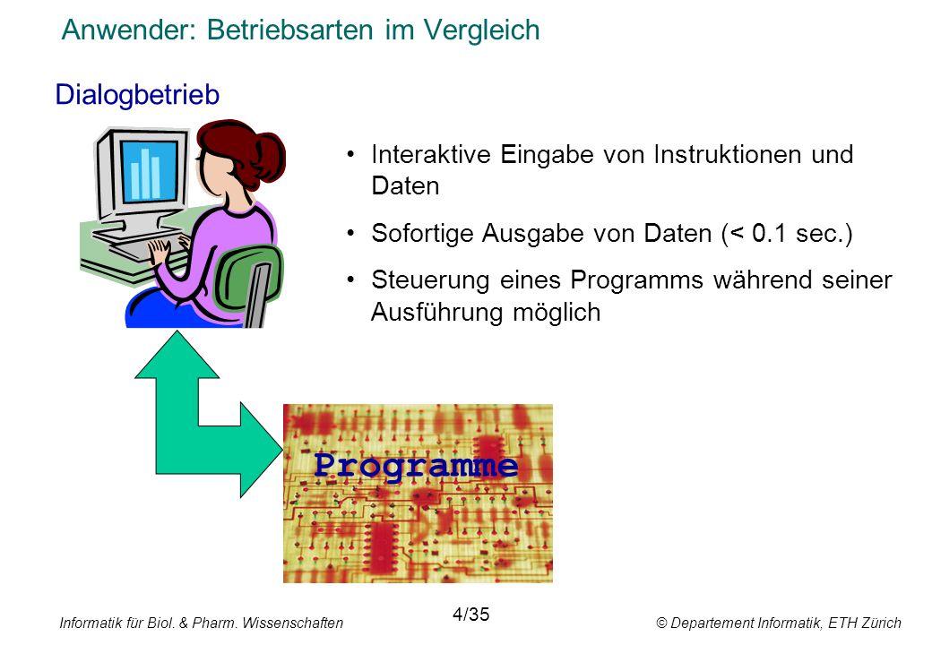 Informatik für Biol. & Pharm. Wissenschaften © Departement Informatik, ETH Zürich Anwender: Betriebsarten im Vergleich Dialogbetrieb 4/35 Interaktive