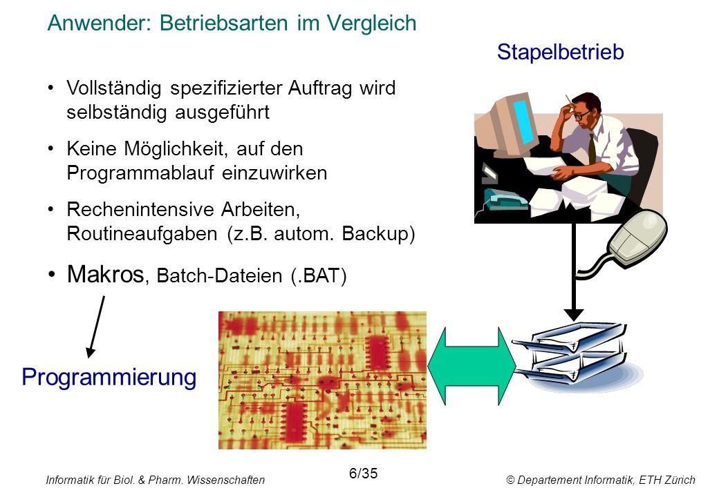 Informatik für Biol. & Pharm. Wissenschaften © Departement Informatik, ETH Zürich Anwender: Betriebsarten im Vergleich Stapelbetrieb 6/35 Vollständig