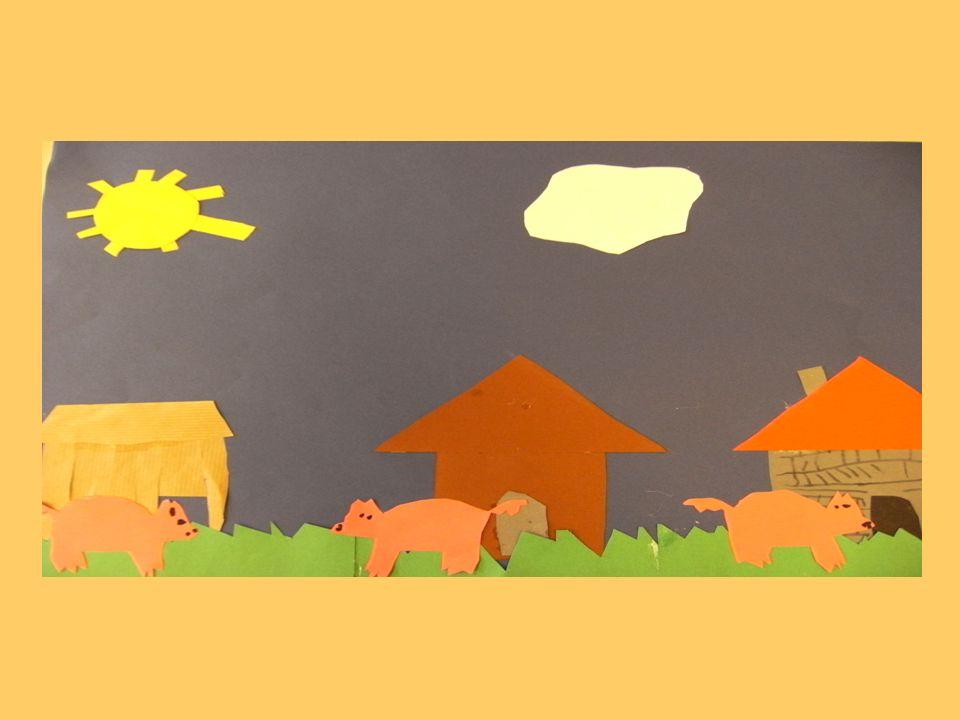 Eines Tages kam der böse Wolf.Die 3 kleinen Schweinchen versteckten sich im Strohhaus.