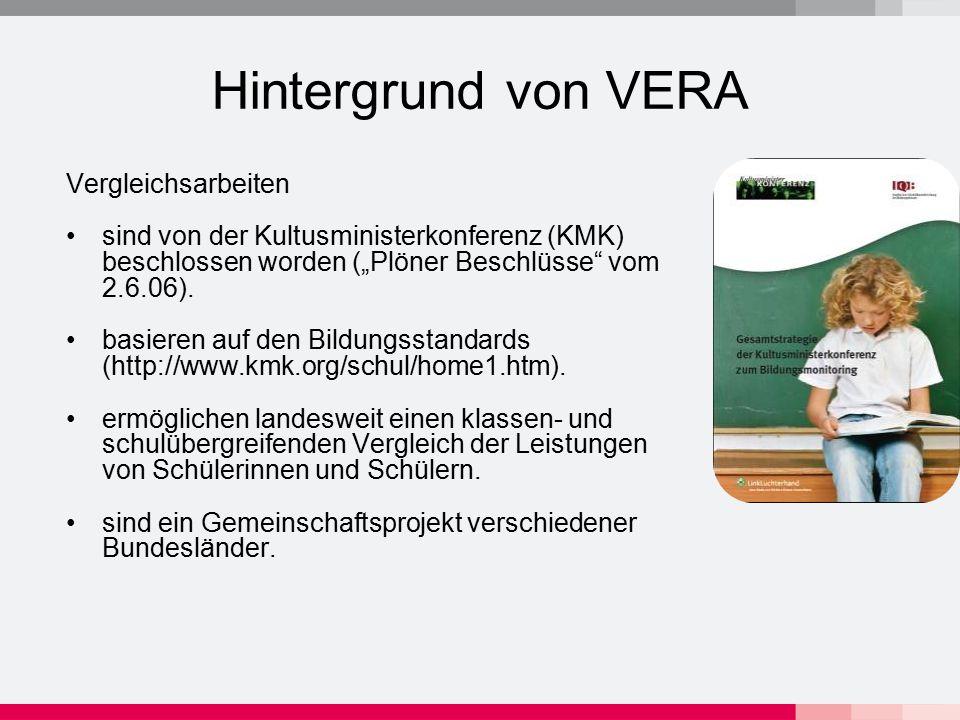 Ziele von VERA Vergleichsarbeiten überprüfen den Lernerfolg von Schülerinnen und Schülern auf der Grundlage der Bildungsstandards geben Hinweise zur gezielten Förderung von Schülerinnen und Schülern bieten eine Grundlage für Beratungsgespräche mit Eltern geben Impulse zur Weiterentwicklung des Unterrichts