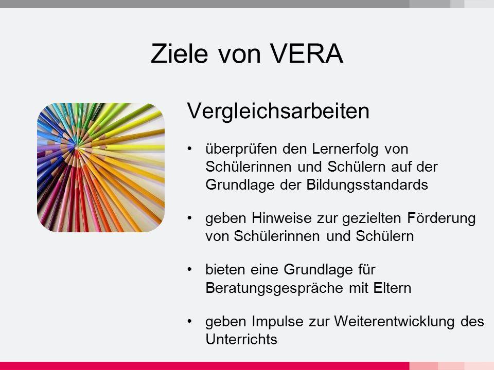 Organisation von VERA Vergleichsarbeiten werden von Lehrkräften durchgeführt und korrigiert 1 SJ 2007/2008 VERA Klasse 3 verpflichtend (Deutsch und Mathematik) VERA Klasse 6 freiwillig (Deutsch, Mathematik, Englisch) VERA Klasse 8 verpflichtend (Mathematik) ab SJ 2008/2009 voraussichtlich alle Verfahren (VERA 3,6,8) verpflichtend