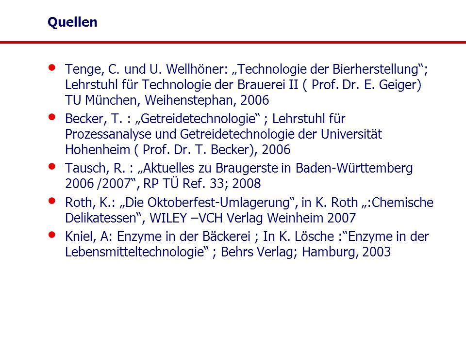 """Quellen Tenge, C. und U. Wellhöner: """"Technologie der Bierherstellung""""; Lehrstuhl für Technologie der Brauerei II ( Prof. Dr. E. Geiger) TU München, We"""