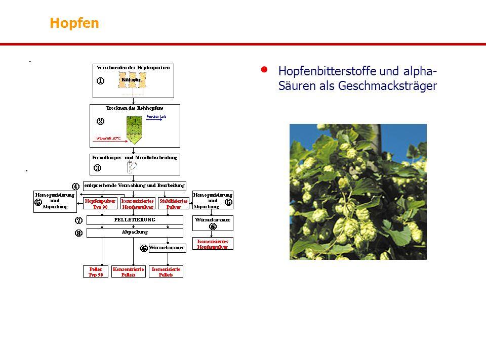 Hopfenbitterstoffe und alpha- Säuren als Geschmacksträger