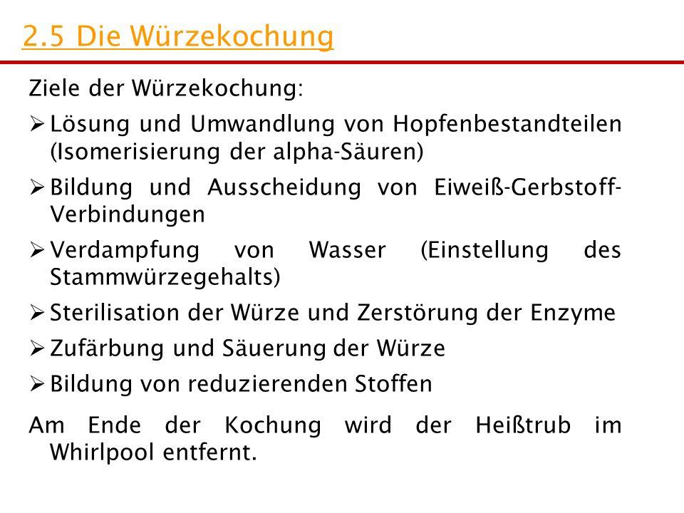 Ziele der Würzekochung:  Lösung und Umwandlung von Hopfenbestandteilen (Isomerisierung der alpha-Säuren)  Bildung und Ausscheidung von Eiweiß-Gerbst