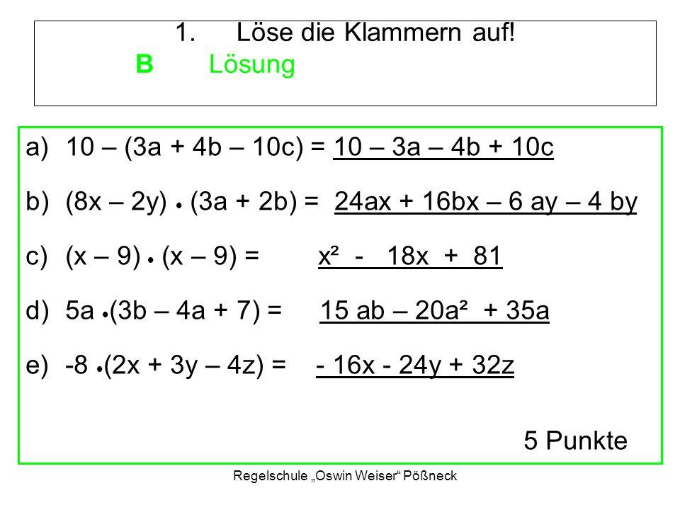 """Regelschule """"Oswin Weiser Pößneck 2.Löse die Gleichung mit Probe."""