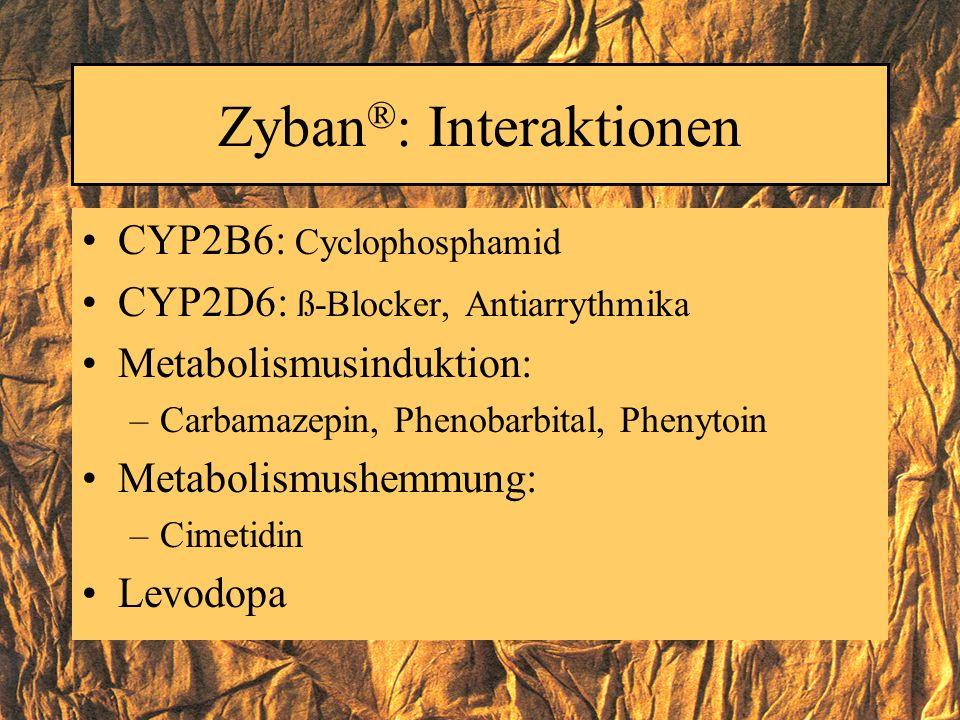 Zyban ® : Interaktionen CYP2B6: Cyclophosphamid CYP2D6: ß-Blocker, Antiarrythmika Metabolismusinduktion: –Carbamazepin, Phenobarbital, Phenytoin Metab