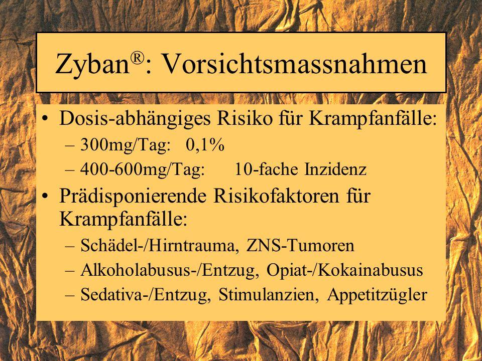 Zyban ® : Vorsichtsmassnahmen Dosis-abhängiges Risiko für Krampfanfälle: –300mg/Tag: 0,1% –400-600mg/Tag: 10-fache Inzidenz Prädisponierende Risikofak