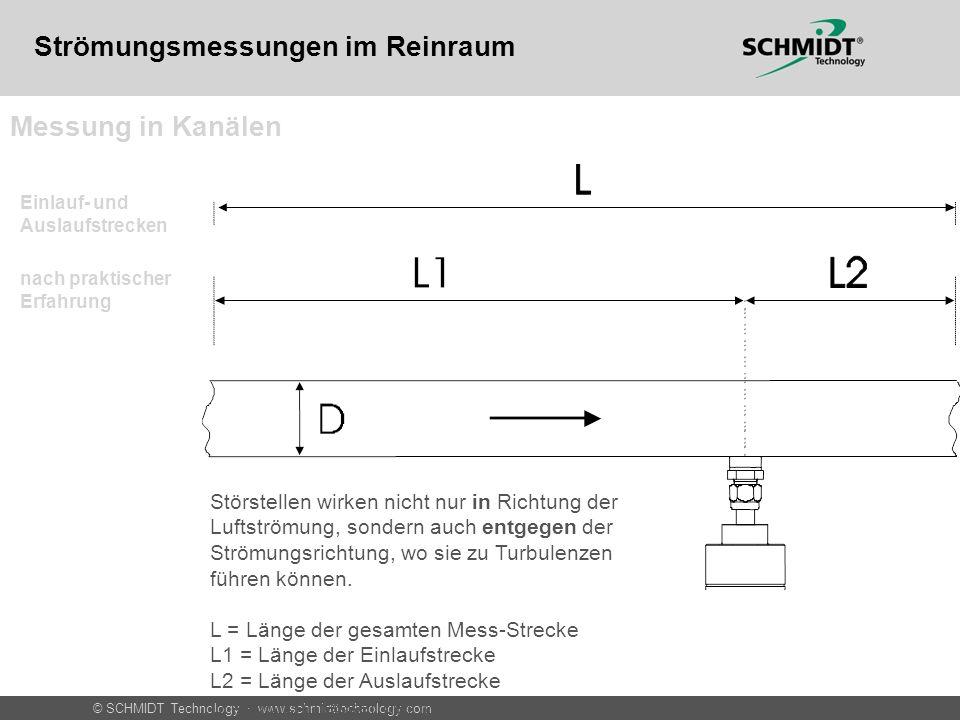 © SCHMIDT Technology · www.schmidttechnology.com Messung in Kanälen Fehler durch Störstellen- einfluss nach VDI 2080 Strömungsmessungen im Reinraum