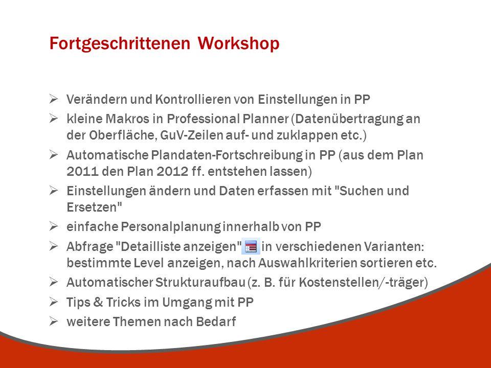 Fortgeschrittenen Workshop  Verändern und Kontrollieren von Einstellungen in PP  kleine Makros in Professional Planner (Datenübertragung an der Ober