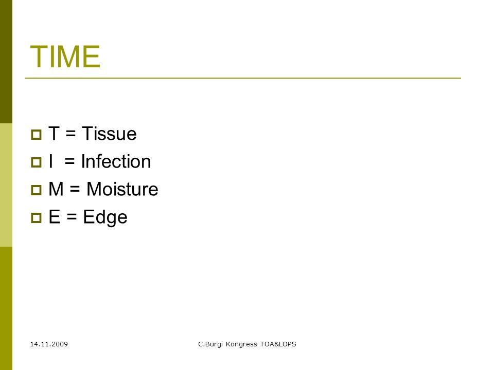 14.11.2009C.Bürgi Kongress TOA&LOPS TIME  T = Tissue  I = Infection  M = Moisture  E = Edge