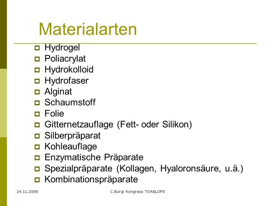 14.11.2009C.Bürgi Kongress TOA&LOPS Materialarten  Hydrogel  Poliacrylat  Hydrokolloid  Hydrofaser  Alginat  Schaumstoff  Folie  Gitternetzauf