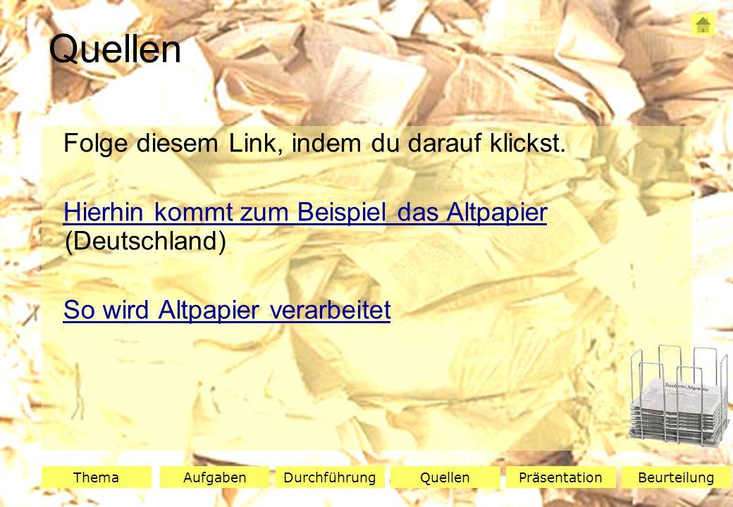 ThemaAufgabenQuellenDurchführungBeurteilungPräsentation Zeigt mir euer Arbeitsblatt.