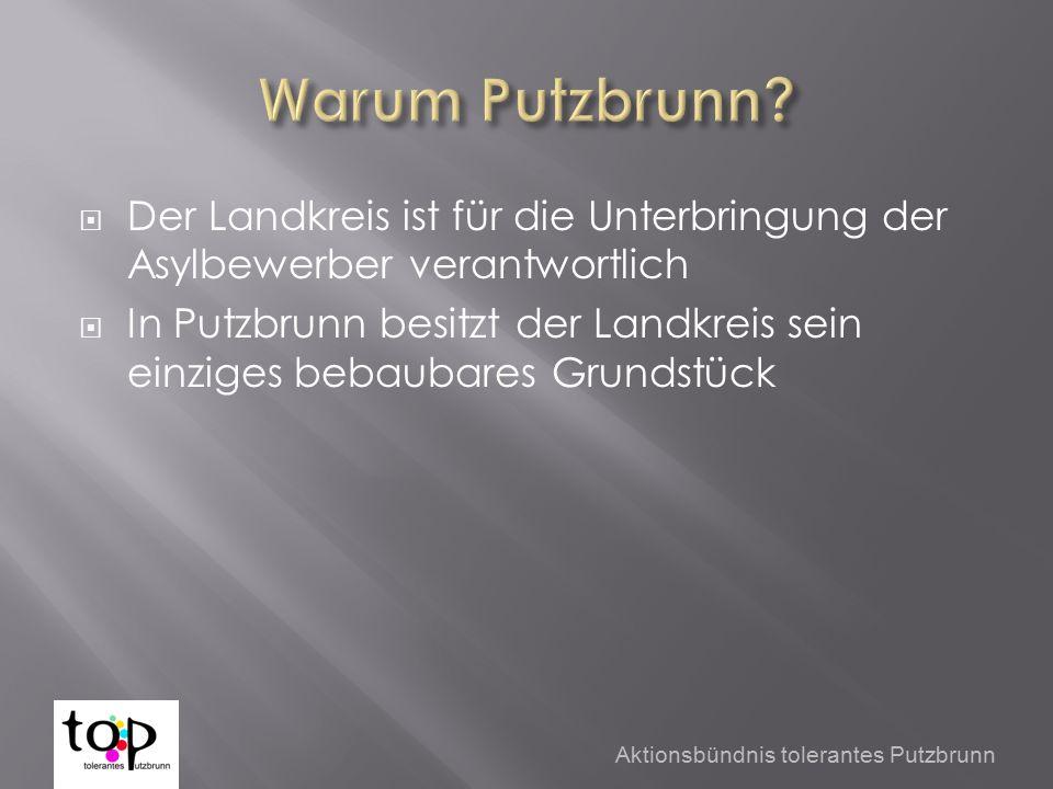  Der Landkreis ist für die Unterbringung der Asylbewerber verantwortlich  In Putzbrunn besitzt der Landkreis sein einziges bebaubares Grundstück Aktionsbündnis tolerantes Putzbrunn