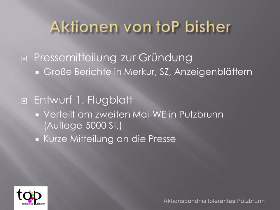  Pressemitteilung zur Gründung  Große Berichte in Merkur, SZ, Anzeigenblättern  Entwurf 1.
