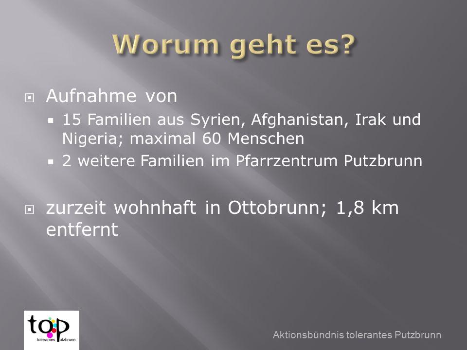 Aktionsbündnis tolerantes Putzbrunn  Aufnahme von  15 Familien aus Syrien, Afghanistan, Irak und Nigeria; maximal 60 Menschen  2 weitere Familien im Pfarrzentrum Putzbrunn  zurzeit wohnhaft in Ottobrunn; 1,8 km entfernt