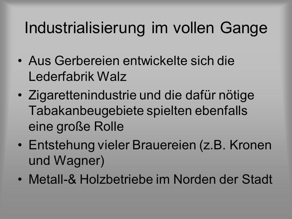 Industrialisierung im vollen Gange Aus Gerbereien entwickelte sich die Lederfabrik Walz Zigarettenindustrie und die dafür nötige Tabakanbeugebiete spielten ebenfalls eine große Rolle Entstehung vieler Brauereien (z.B.