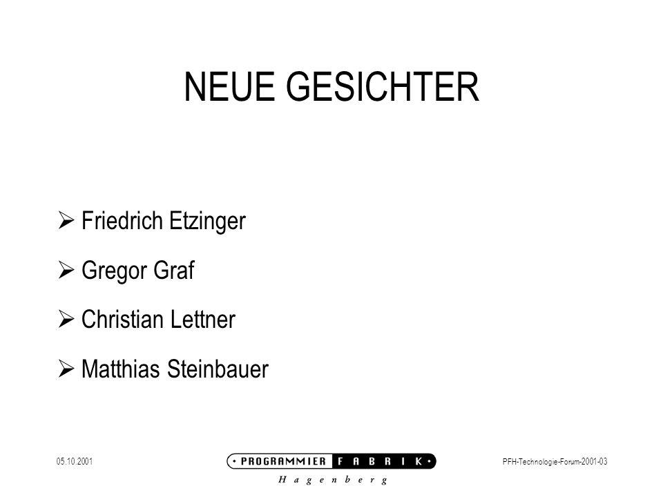 05.10.2001PFH-Technologie-Forum-2001-03 NEUE GESICHTER  Friedrich Etzinger  Gregor Graf  Christian Lettner  Matthias Steinbauer