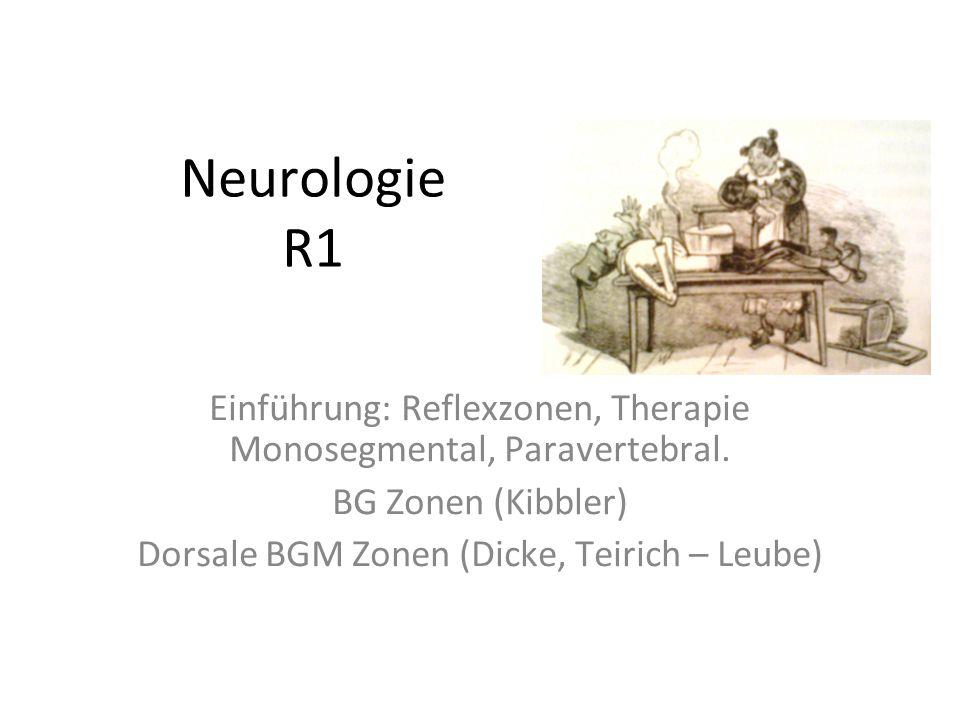 Neurologie R1 Einführung: Reflexzonen, Therapie Monosegmental, Paravertebral. BG Zonen (Kibbler) Dorsale BGM Zonen (Dicke, Teirich – Leube)