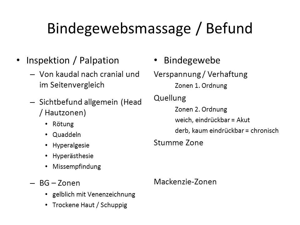Bindegewebsmassage / Befund Inspektion / Palpation – Von kaudal nach cranial und im Seitenvergleich – Sichtbefund allgemein (Head / Hautzonen) Rötung