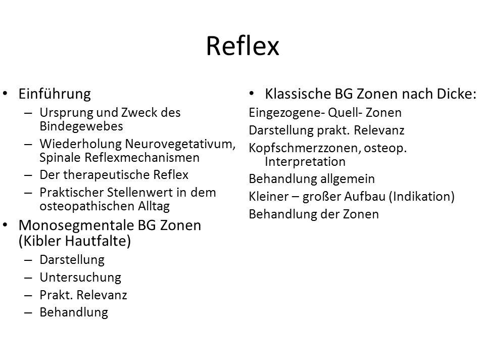 Reflex Einführung – Ursprung und Zweck des Bindegewebes – Wiederholung Neurovegetativum, Spinale Reflexmechanismen – Der therapeutische Reflex – Prakt