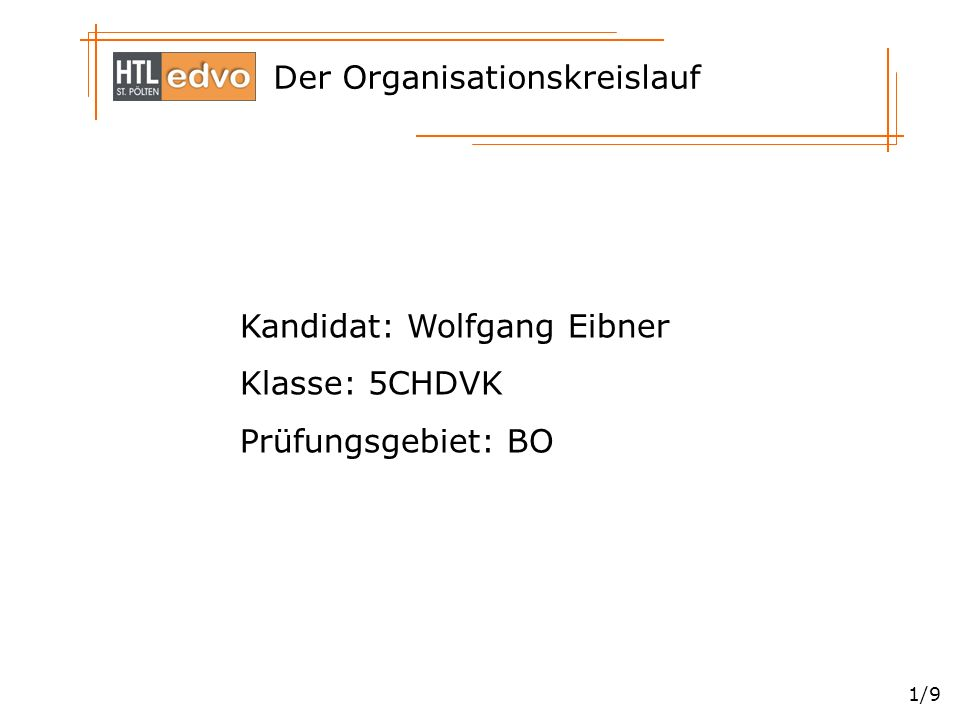Der Organisationskreislauf 1/9 Kandidat: Wolfgang Eibner Klasse: 5CHDVK Prüfungsgebiet: BO