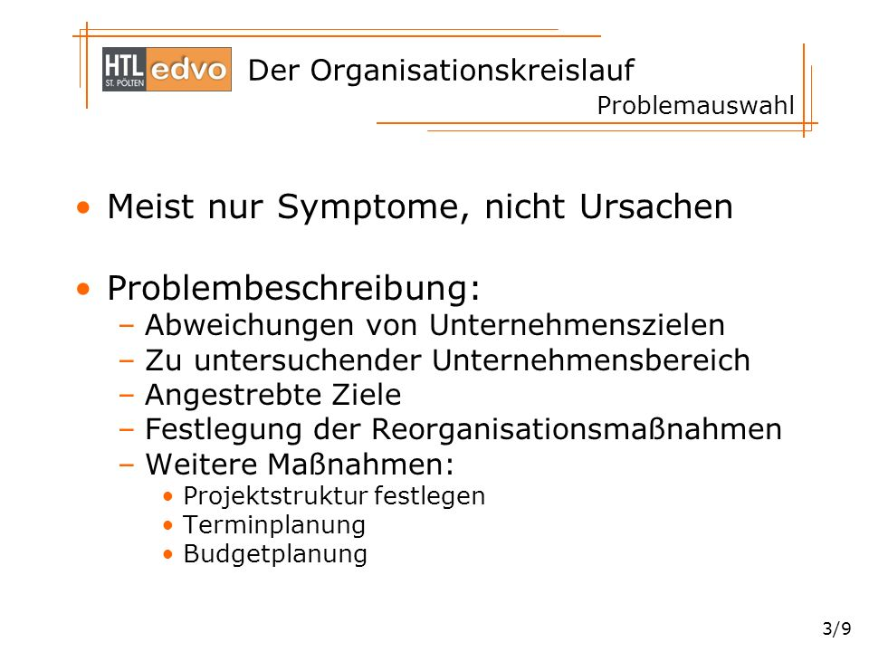 Der Organisationskreislauf 3/9 Problemauswahl Meist nur Symptome, nicht Ursachen Problembeschreibung: –Abweichungen von Unternehmenszielen –Zu untersu