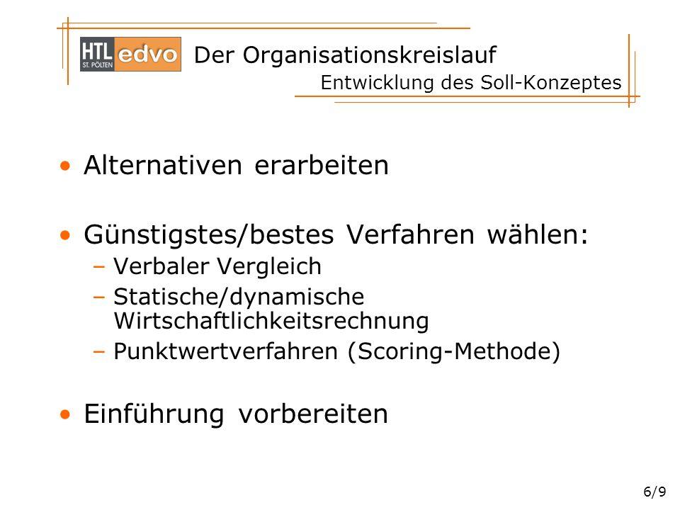 Der Organisationskreislauf 6/9 Entwicklung des Soll-Konzeptes Alternativen erarbeiten Günstigstes/bestes Verfahren wählen: –Verbaler Vergleich –Statis