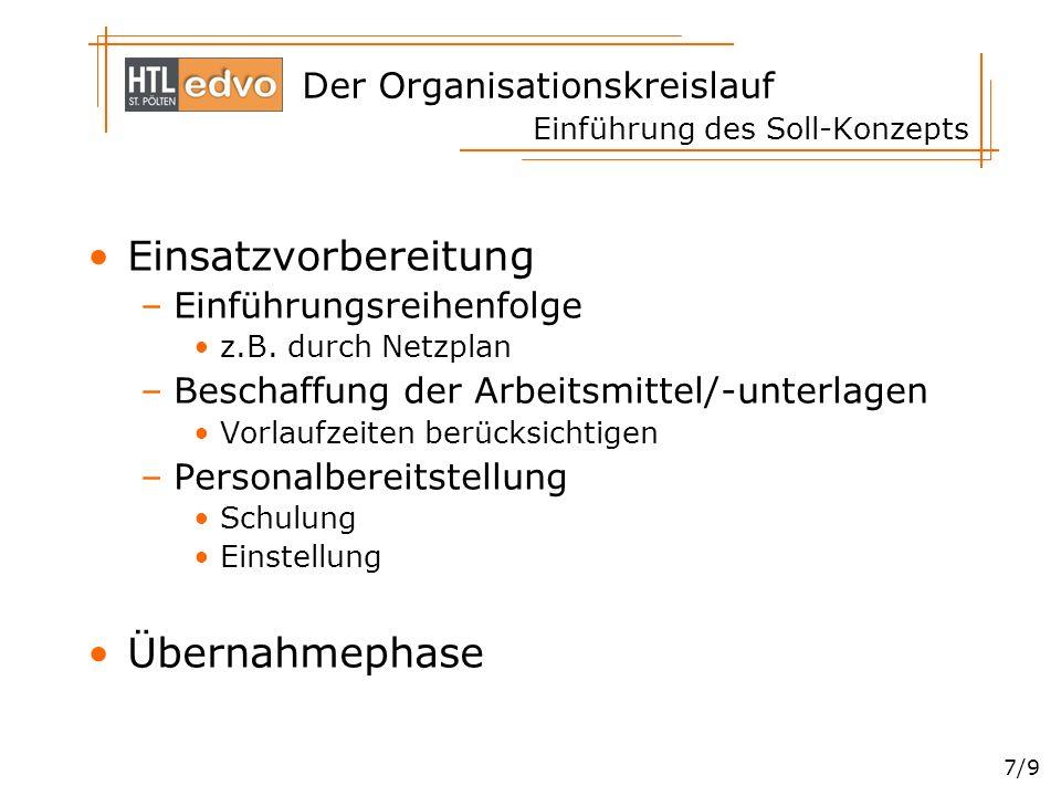 Der Organisationskreislauf 7/9 Einführung des Soll-Konzepts Einsatzvorbereitung –Einführungsreihenfolge z.B. durch Netzplan –Beschaffung der Arbeitsmi