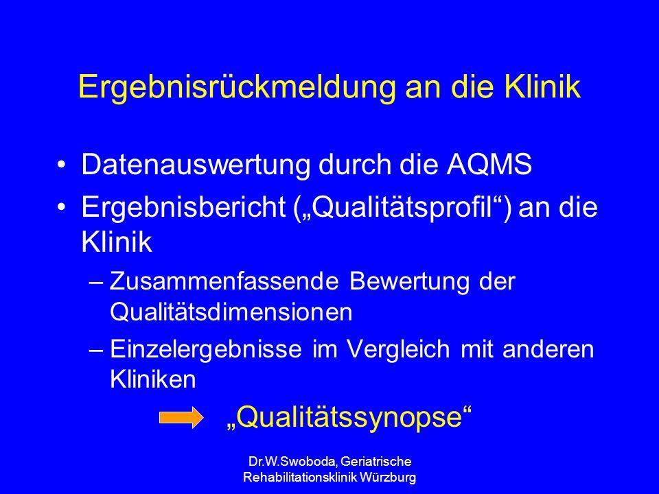 """Dr.W.Swoboda, Geriatrische Rehabilitationsklinik Würzburg Ergebnisrückmeldung an die Klinik Datenauswertung durch die AQMS Ergebnisbericht (""""Qualitäts"""