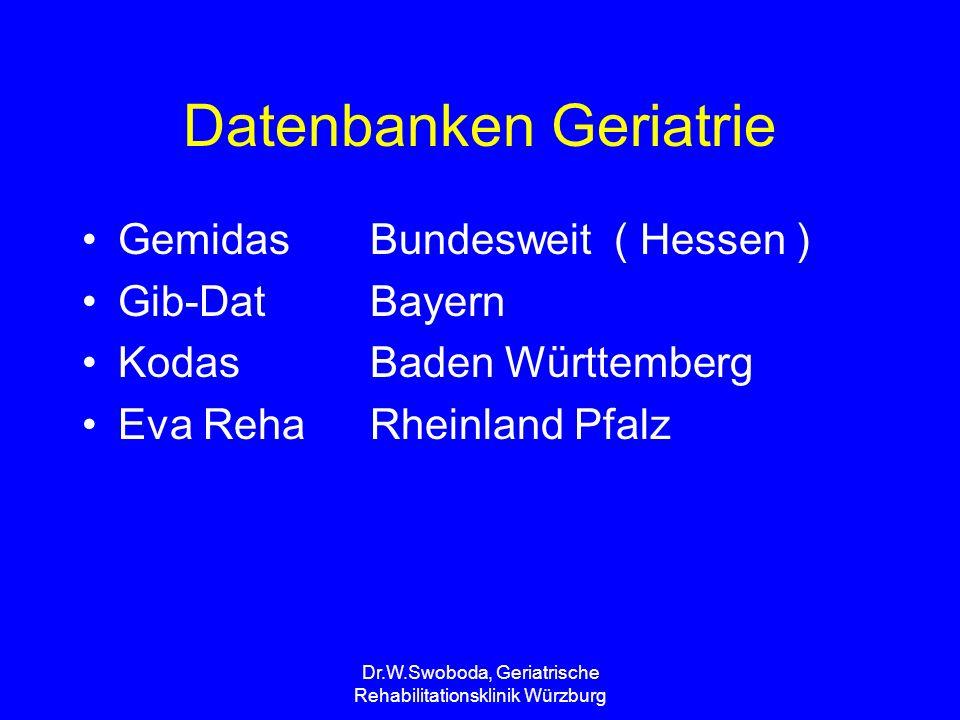 Dr.W.Swoboda, Geriatrische Rehabilitationsklinik Würzburg Qualitätssiegel Geriatrische Rehabilitation in Rheinland-Pfalz In ihrem gemeinsamen Bemühen um eine angemessene und wirtschaftliche geriatrische Rehabilitation in Rheinland-Pfalz verpflichten sich die sechs Rehabilitationseinrichtungen, die Rehabilitationsträger (Landesverbände der Krankenkassen) und der Medizinische Dienst der Krankenversicherung Rheinland-Pfalz (MDK RLP) gemeinsam zur Qualität.